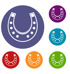 horseshoe icons set vector image