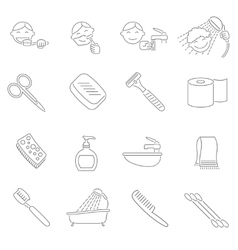 Hygiene Icons Outline vector image