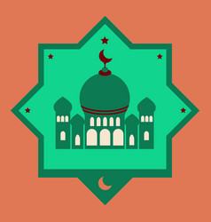 Icon in a flat style muslim mosque vector