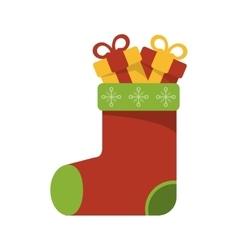 Isolated gift and boot of christmas season design vector