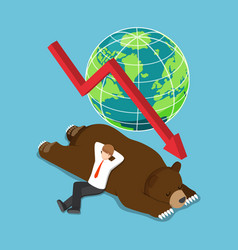 isometric businessman lay down on sleeping bear vector image