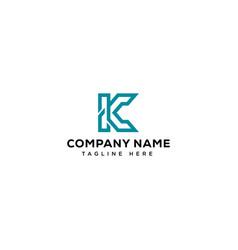 k initial logo design vector image