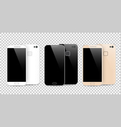 Modern black white and gold smartphone isolated vector