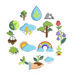nature icons set symbols cartoon style vector image