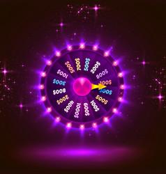 neon colorful fortune wheel purple background vector image