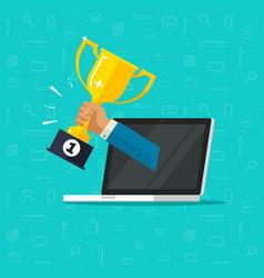 online award goal achievement flat cartoon vector image