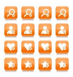 Orange additional sign square icon web button vector