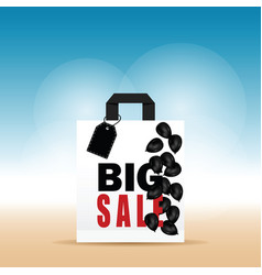 paper bag white with big sale and balloon on it vector image