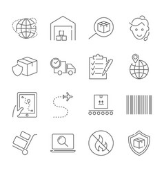 Parcel delivery service and logistics icon set vector