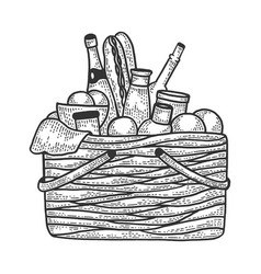 picnic basket with food sketch engraving vector image