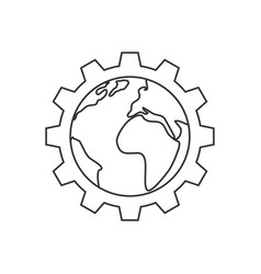 planet inside gear line icon vector image
