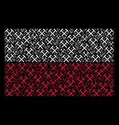 Poland flag mosaic of mining hammers icons vector