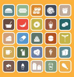 Popular food flat icons on orange background vector