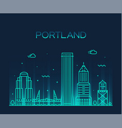portland oregon usa linear art style city vector image