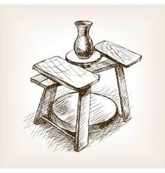 Potters wheel hand drawn sketch style vector