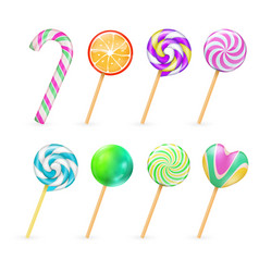 realistic lollipops candies isolated on vector image