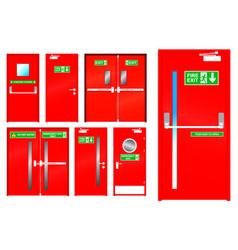 Realistic red emergency exit door isolated vector