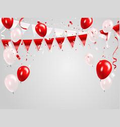 red white balloons confetti concept design 17 vector image