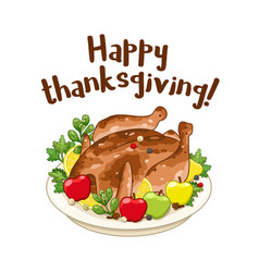 Roasted turkey or chicken for thanksgiving day vector