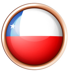 Round badge with chile flag vector
