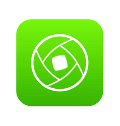 semi-closed lens icon digital green vector image