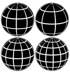 Set black globe 3d model earth vector