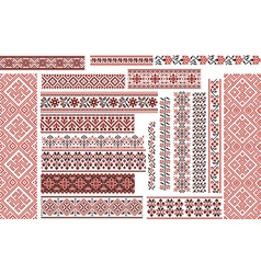 Set of Ethnic Patterns for Embroidery Stitch vector image vector image