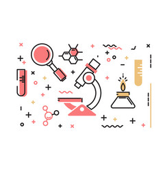 Set of icons on the theme of science vector