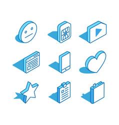 Set web isometric icon sim card phone heart vector