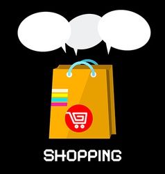 Shopping Bag with Cart and Empty Speech Bubbles on vector