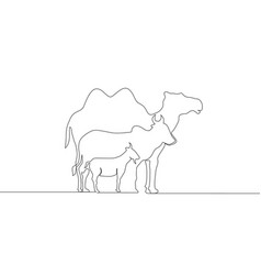 Single continuous line drawing goat sheep vector