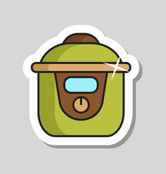 Slow cooking crock pot icon vector