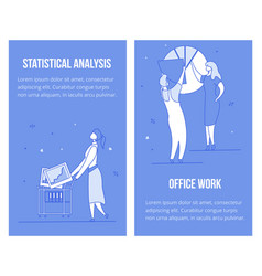 statistical data analysis office work review set vector image
