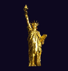 Statue of liberty golden design low poly vector