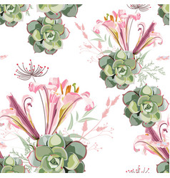 summer herbs succulent and pink royal lilies vector image