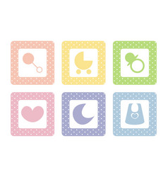 Sweet baby icons with polka dots background vector