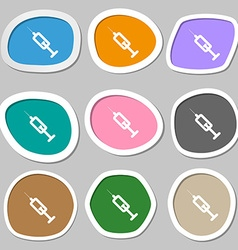 syringe icon symbols Multicolored paper stickers vector image