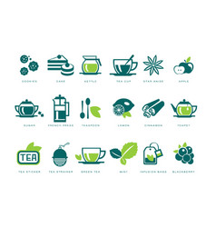 tea time icons set cookie cake kettle cup vector image