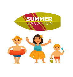 Three children spending happily summer vacations vector
