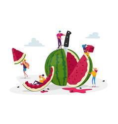 Tiny characters enjoying refreshing huge ripe vector