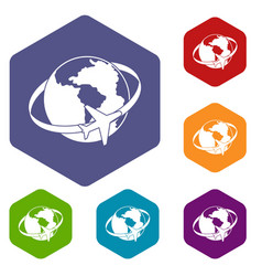 Travelling around the world icons set hexagon vector