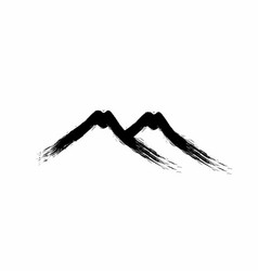 Two mountain grudge paint brush ink art logo vector
