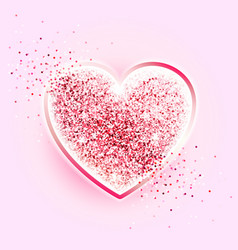 Valentines day design glitter pink heart vector