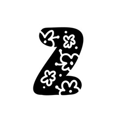 Vintage floral bold letter z logo spring classic vector