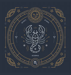 Vintage thin line scorpio zodiac sign label retro vector