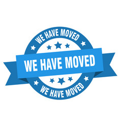 we have moved ribbon we have moved round blue vector image