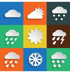 Weather icons on colored background vector image