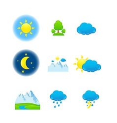 weather nature icons vector image