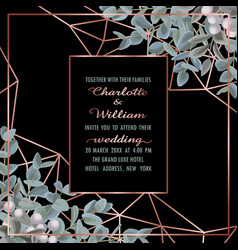 wedding invitation with eucalyptus vector image