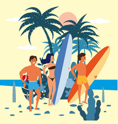 women and men surfers and beach volleyball player vector image